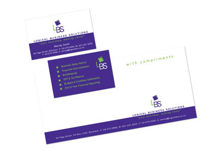 Graphic design of logo and business card and stationery for Logical Business Solutions in Marlborough