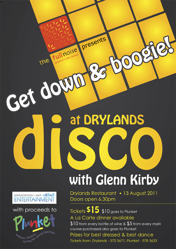 Disco poster design for Marlborough Plunket