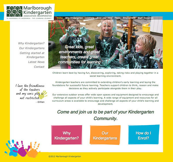 Marlborough Kindergarten Association website design