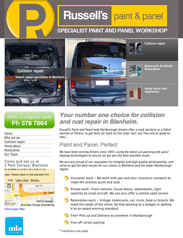 Russells Paint and Panel website design