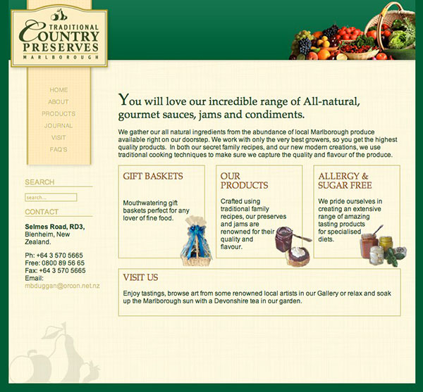 Traditional Country Preserves website design