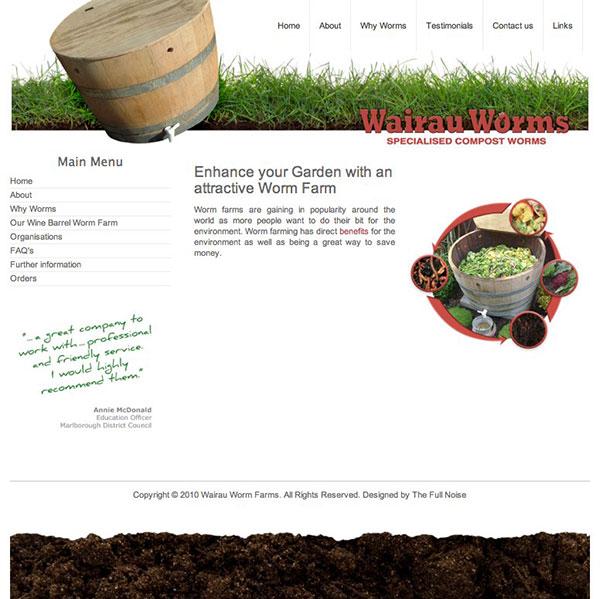 Wairau Worms website design